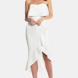 XSCAPE Crepe Bustier Ruffle-Hem Ivory Dress